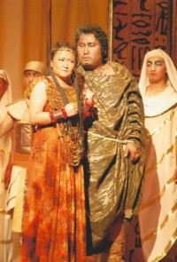 Enkhbat in a Mongolian performance of Aida, December 2010