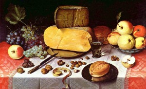 Still Life with Fruits, Nuts and Cheese