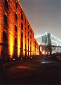 Brooklyn Bridge with Lighted Warehouse